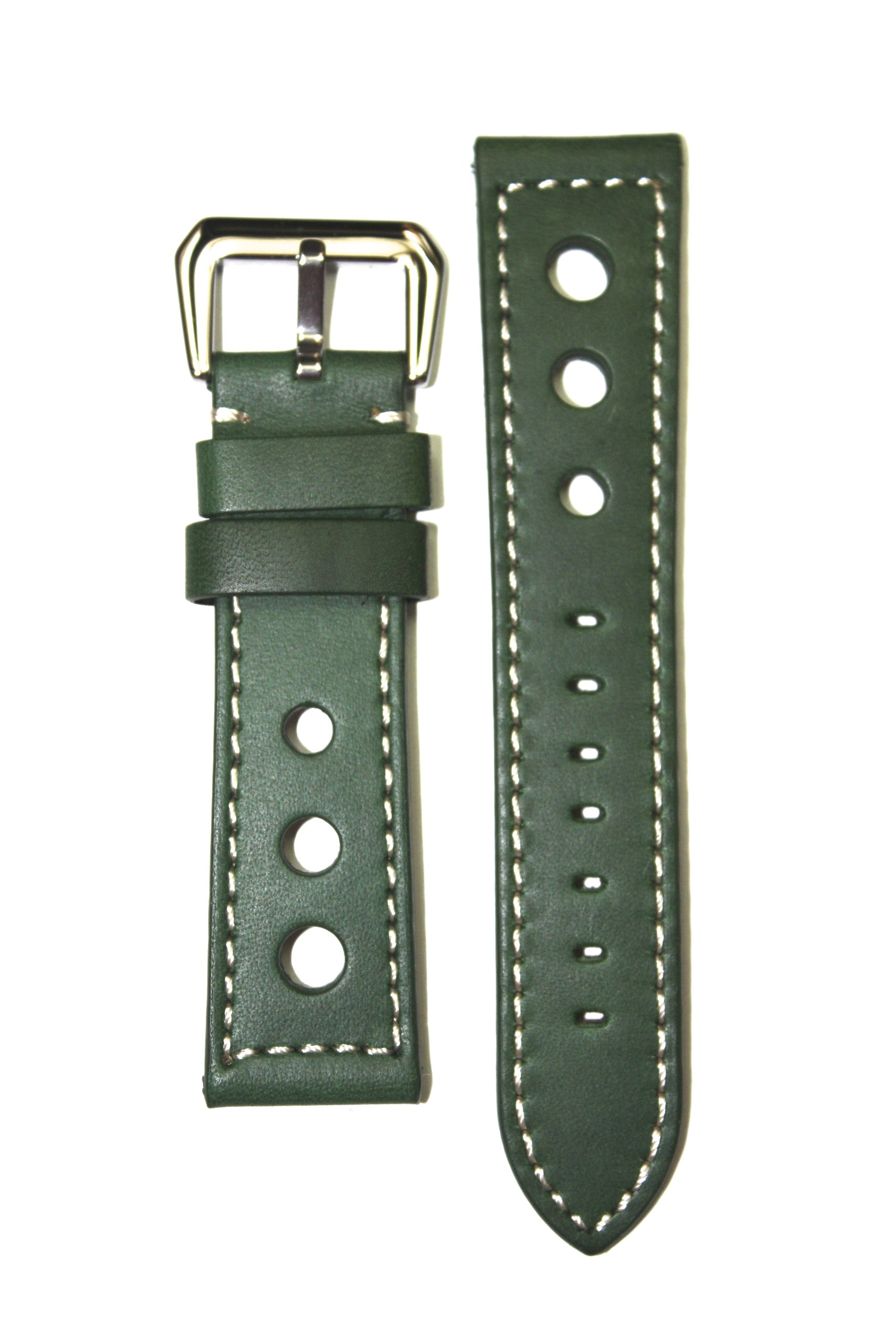 PANERAI Pilot 20mm Green Racing Style Heavy Leather Watchband with S/S Buckle