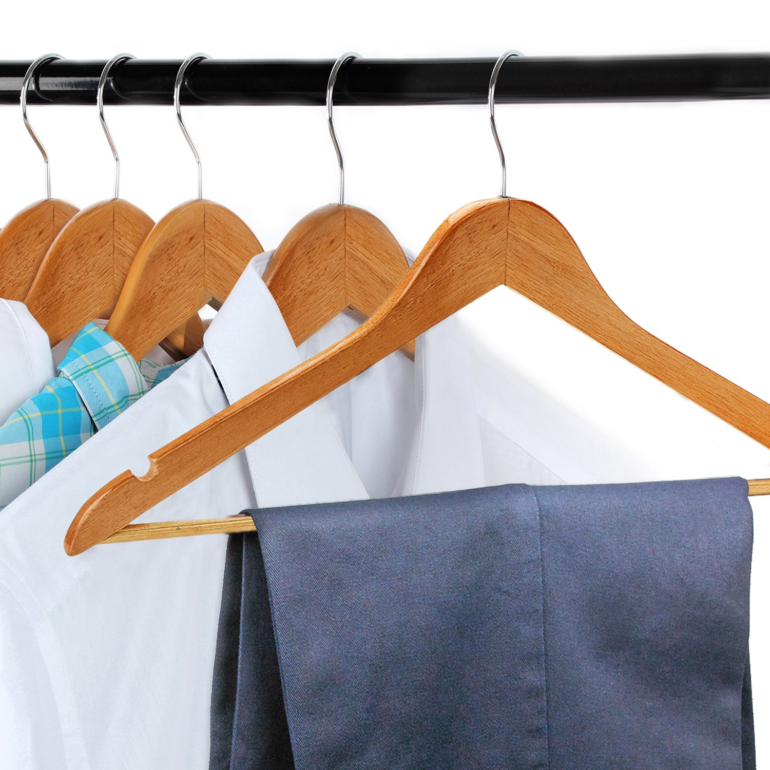 Pack of 24 Natural Wood Suit Clothes Hangers with High Grade Extra Smooth Finish /& Chrome Hook to Organize Your Wardrobe - FloridaBrands Wooden Dress Hangers Hold N Storage FB-FB2184//24