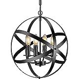 Industrial Pendant Light Vintage Spherical Pendant Lighting with 4 E12 Chandelier Lamp Base Farmhouse Black Metal Kitchen Din