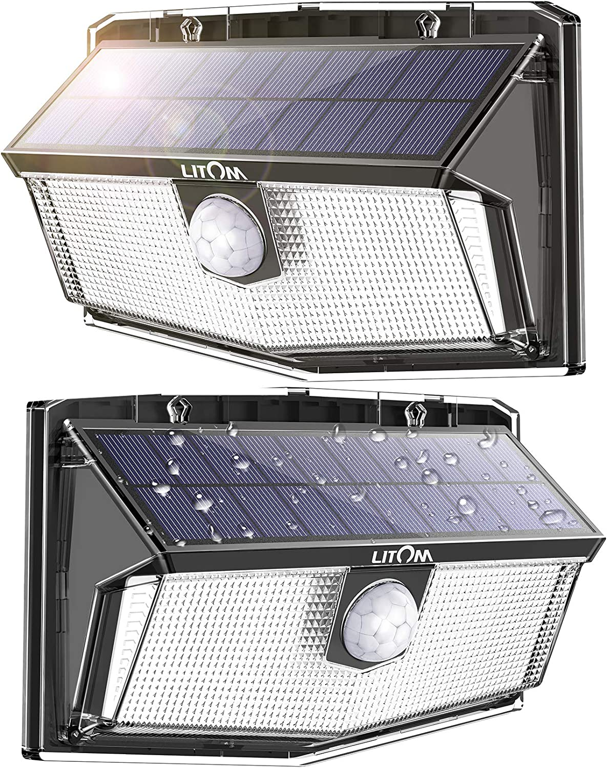 LITOM 300 LED Solar Motion Sensor Lights Outdoor, IP67 Waterproof Solar Powered Security Lights Wireless Solar Wall Lights with 3 Modes for Garden Patio Yard Deck Garage Fence Pool - Cold White 2 Pack