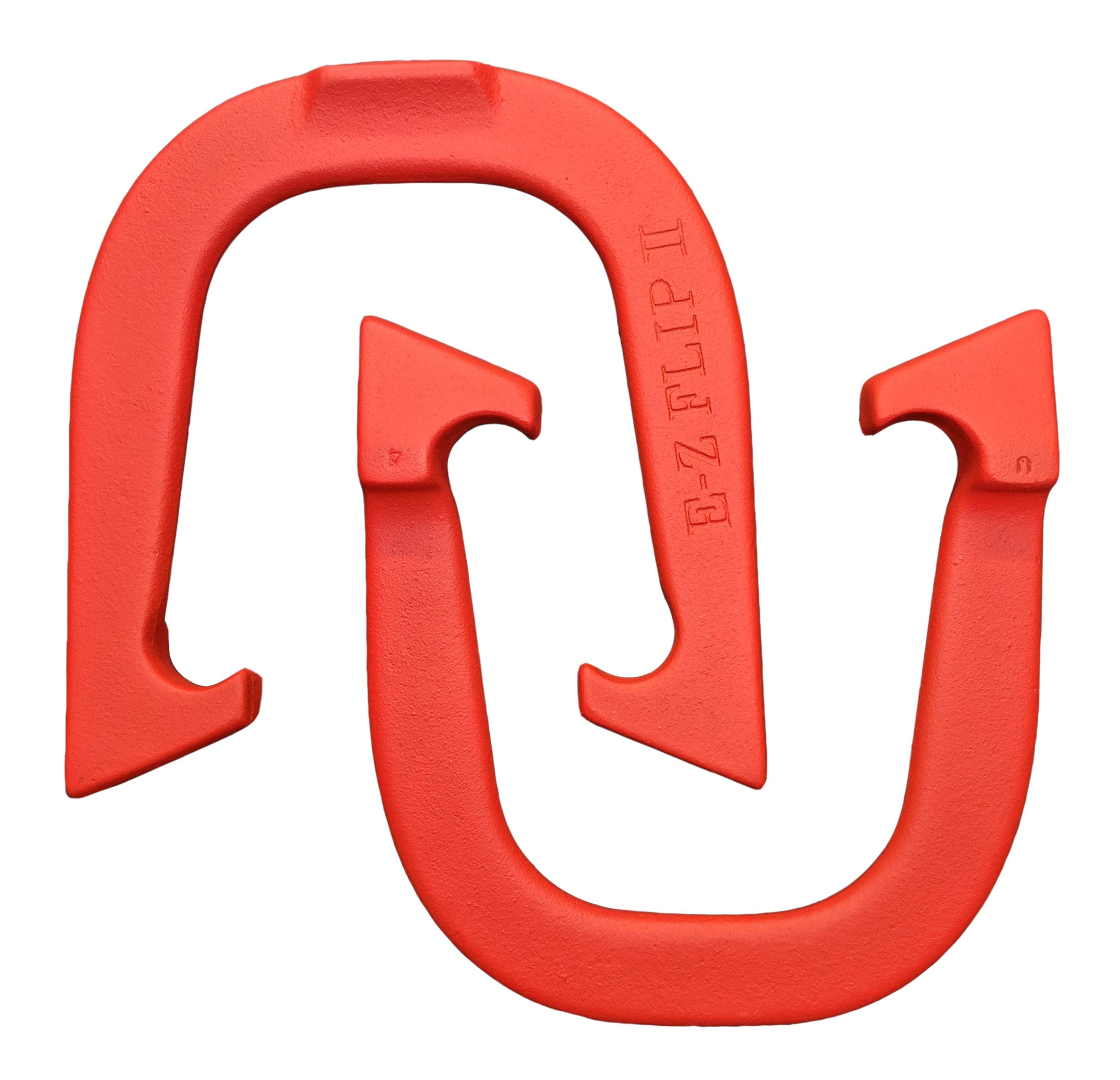 E-Z Flip II Professional Pitching Horseshoes- Made in The USA (Red- Single Pair (2 Shoes)) by Thoroughbred Horseshoes