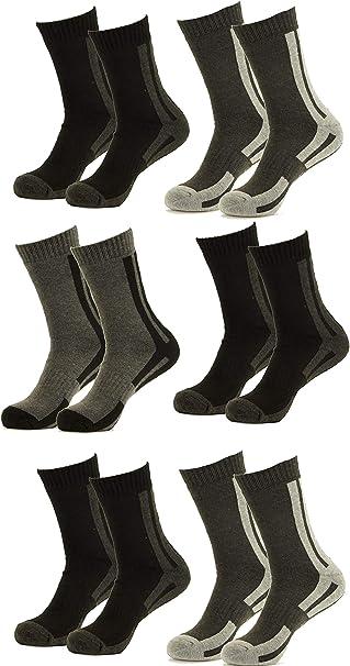 Piotrstrade 6 pares de calcetines térmicos para hombre, con rayas, cálidos, para invierno, negocios, de algodón, multicolor: Amazon.es: Ropa y accesorios