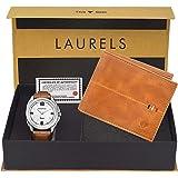 Laurels Men's White Wallet and Watch - (CP-DIP-301-HRNT-II-0609)