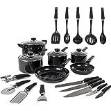 Morphy Richards Equip 6 Piece Pan Set with 14 Piece Tool Set - Black