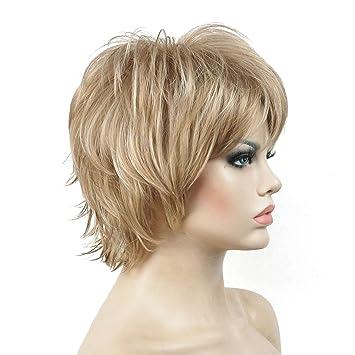 Amazon Com Lydell Short Layered Shaggy Wavy Full Synthetic Wigs