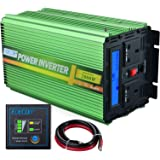 EDECOA Power Inverter 2000W DC 24V to 240V 230V AC Car Vehicle with LCD Display and Remote Switch - Green