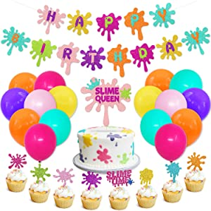 Slime Birthday Party Decorations Kit Slime Theme Party Cupcake Toppers Slime Birthday Banner Slime Queen Cake Topper Colorful Balloons for Art Theme Party Kid Painting birthday Party Supplies