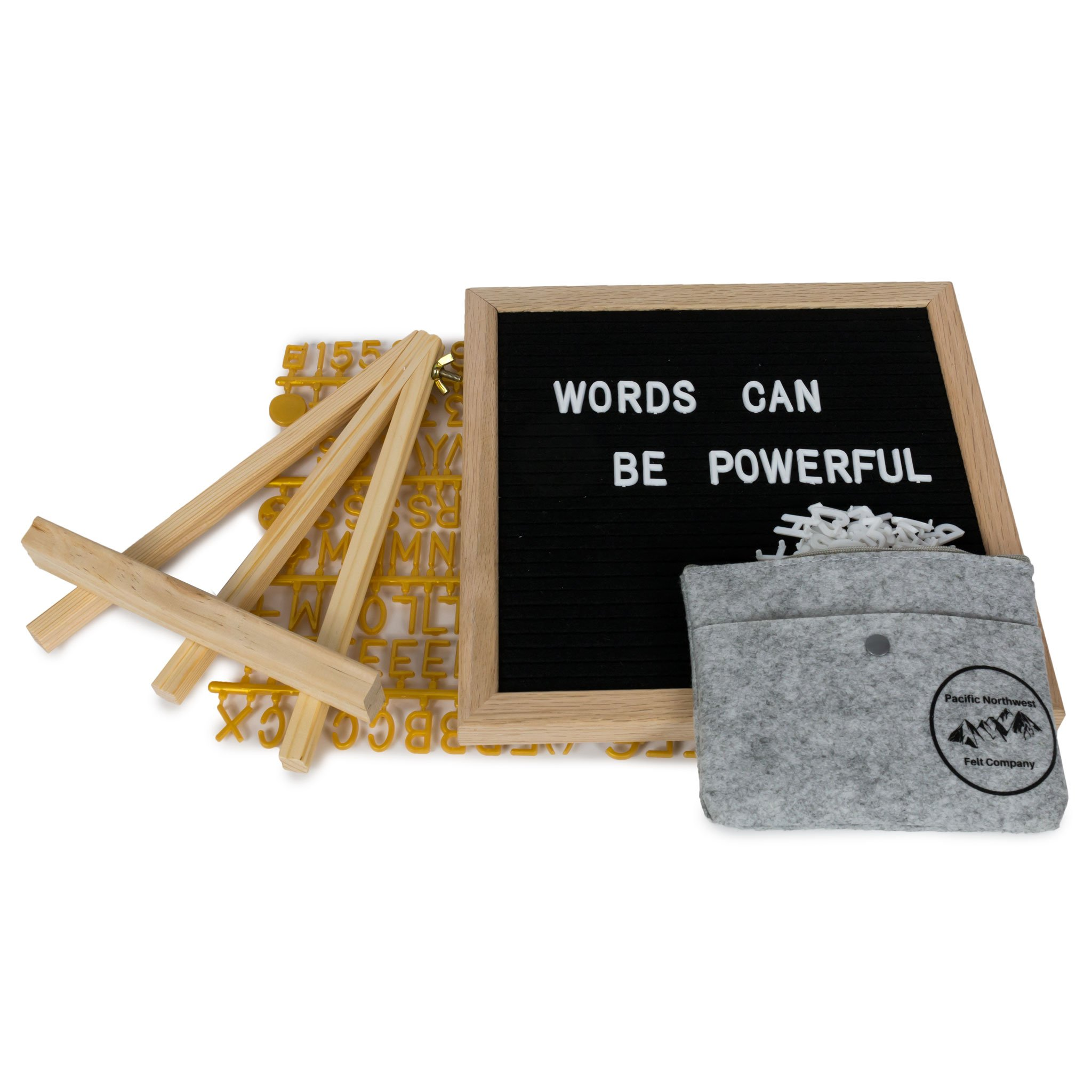Black Felt Letter Board, 720 Letters, White and Gold, 10''x10'', Oak Frame, Wall Mount, Stand, Scissors, 2 Felt Bags. by Pacific Northwest Felt Co. (Image #1)