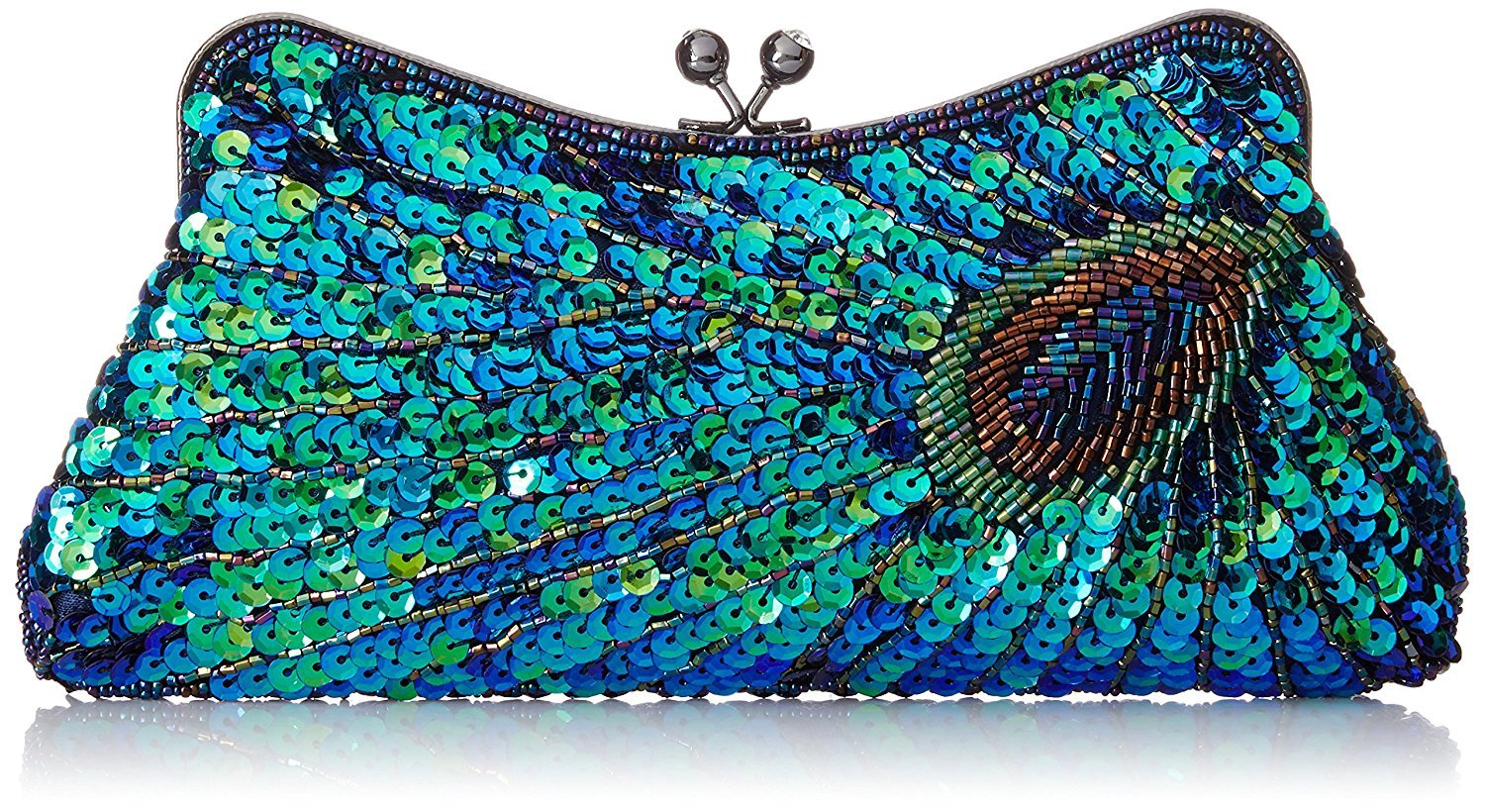 Kisschic Women's Vintage Beaded Sequin Peacock Purse Evening Bags and Clutches(Blue)