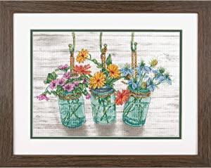 "Dimensions Flowers in Mason Jars Cross Stitch Kit, 14 Count White Aida Cloth, 14"" x 10"""