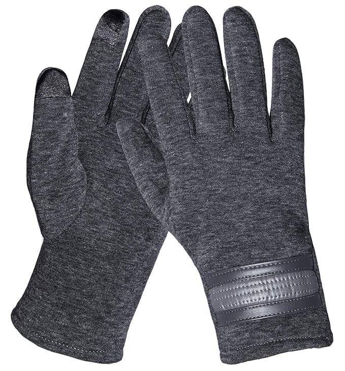 5eeb5a3ca25131 Chalier Touchscreen Handschuhe Damen Winterhandschuhe Frauen Fäustlinge  Winter Warme Damenhandschuhe mit Fleecefutter in Schwarz und Grau MEHRWEG:  ...