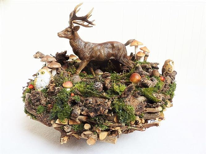 Grosse Wohndeko Naturdeko Deko Herbst Herbstdeko Hirsch Auf Der