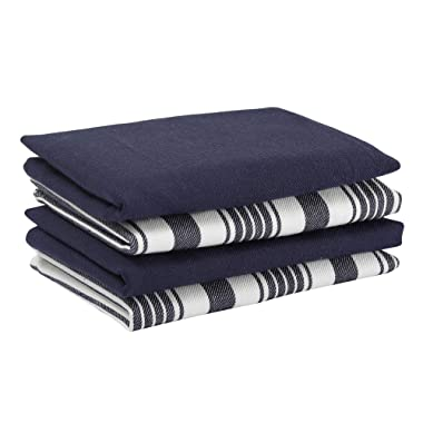 Set of 4 Kitchen Towels, Stripes & solid, 100% Cotton, Eco Friendly and Safe, Suitable for all Kitchens, Navy Blue/White Color, Size 18 X26  Product of Cote De Amor