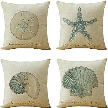 Blues Browns. Beige Linen Pinks Sea Shells Cushion Cover Nautical Creams