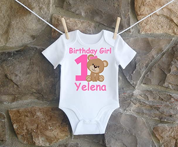 53d60a7b9eff Amazon.com  Teddy Bear 1st And 2nd Birthday Shirt For Girls