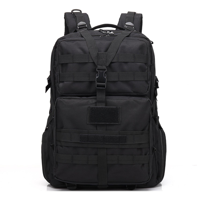 TOOGOO 45l Military Tacticalバックパックバッグスポーツバッグ多機能迷彩バックパック防水(カーキ)  ブラック B07F3V2DYB