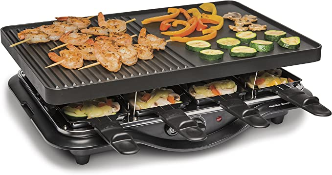 TOP RATED HAMILTON BEACH 8 SERVING ELECTRIC INDOOR RACLETTE GRILL!