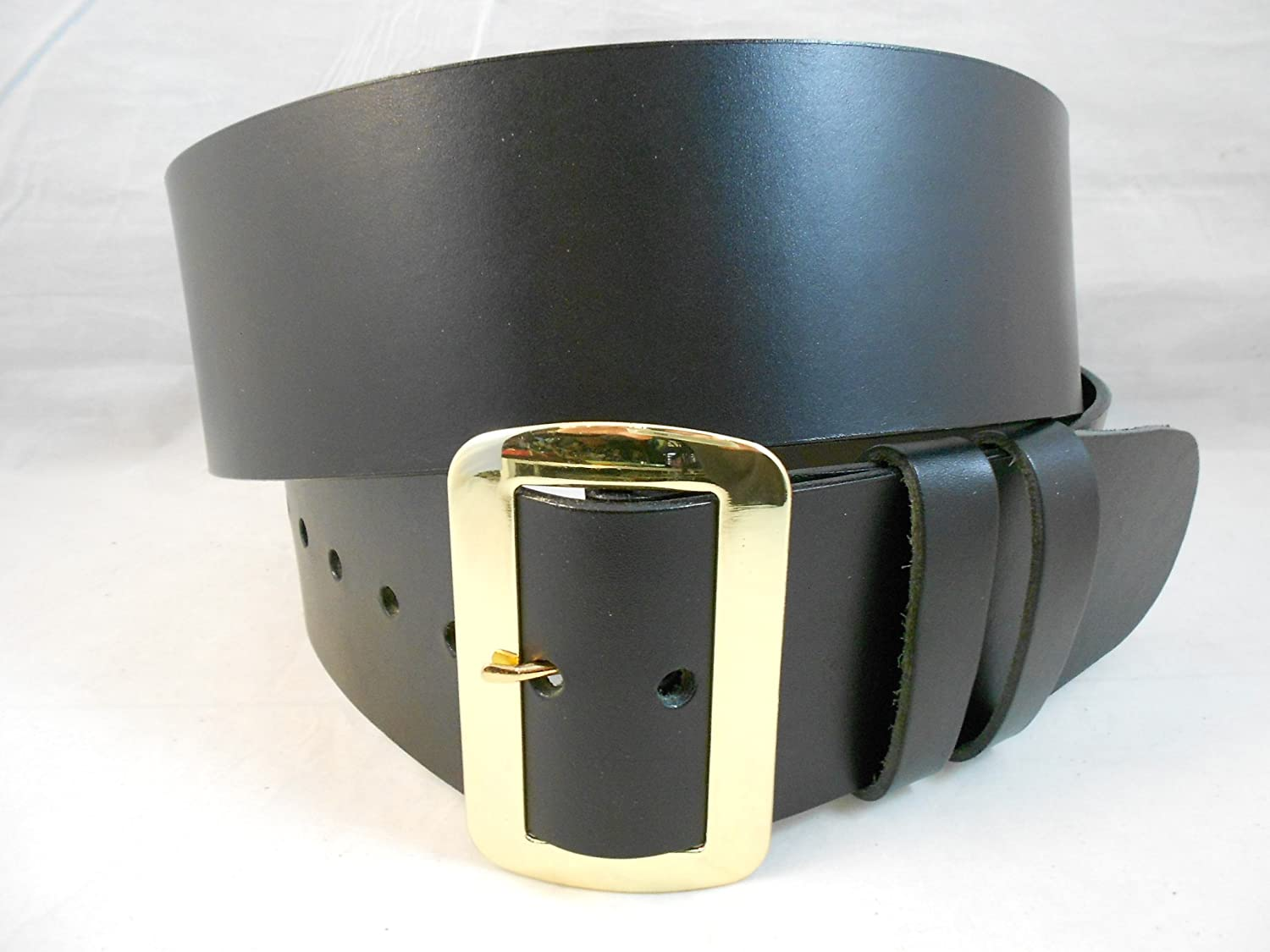 Santa Claus Hand Crafted Solid Black Leather Belt - DeluxeAdultCostumes.com