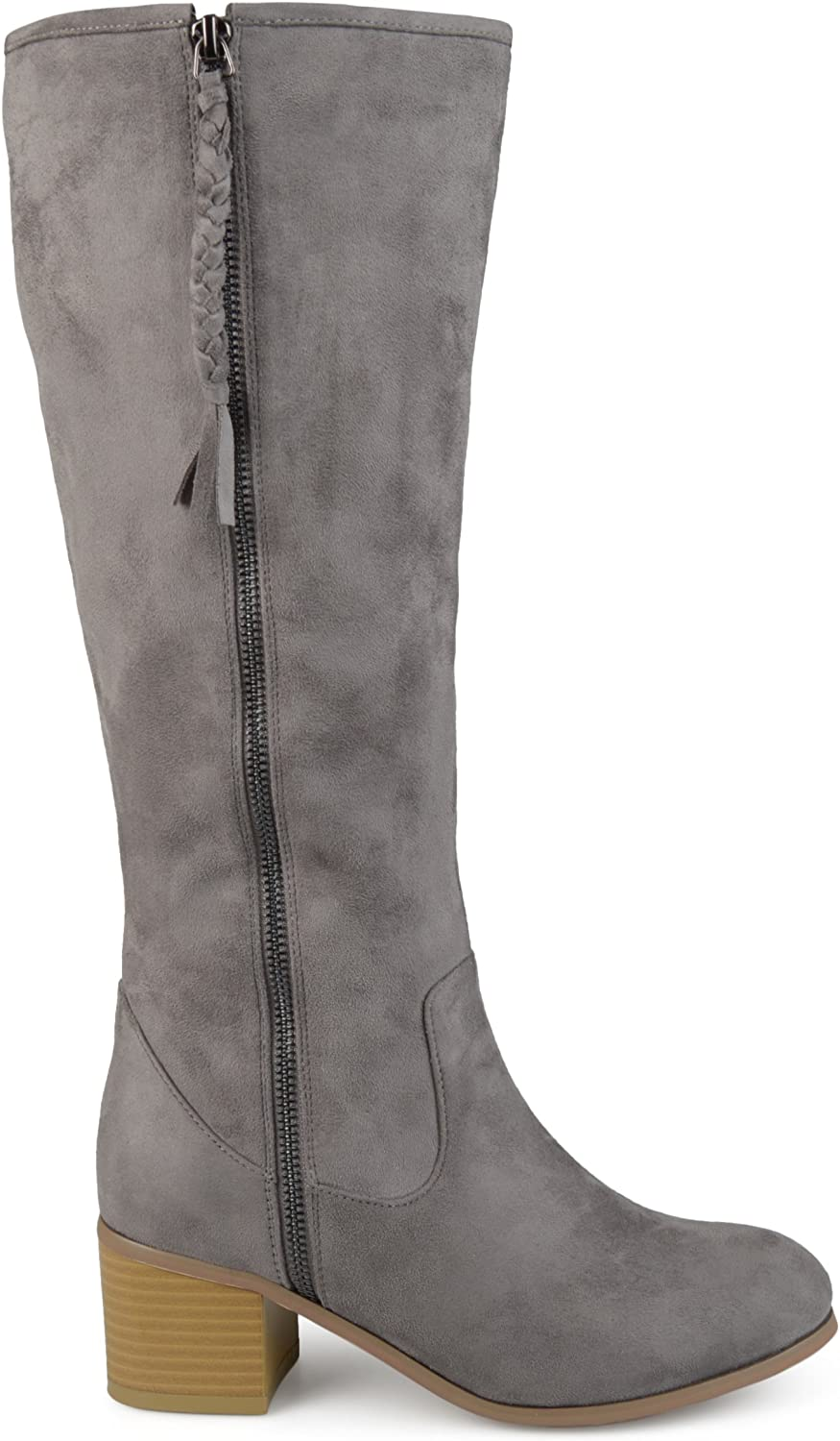 Brinley Co. Womens Regular and Wide Calf Faux Suede Mid-Calf Stacked Wood Heel Boots Grey, 9.5 Wide Calf US