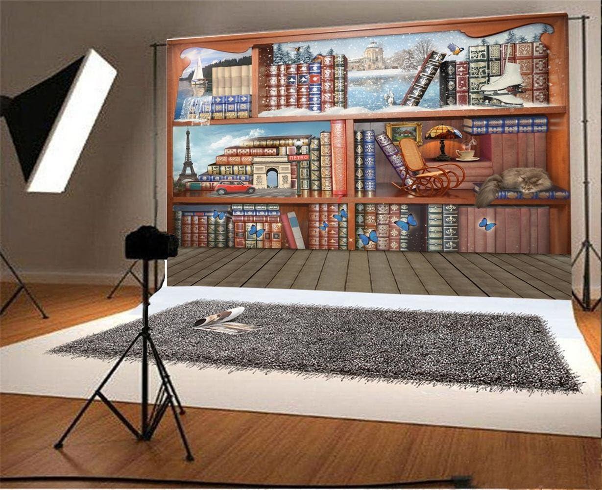 10x6.5ft Vinyl Backdrop Photography Background Magical Books World Bookshelf Photo Background Fantasy Illusion Winter Season Indoor Wood Floor Vintage Butterflies Backdrop Photo Studio Prop