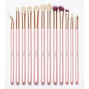 Qivange Brosse à yeux Kit de pinceau de maquillage avec poche (12pcs rose avec rose or)