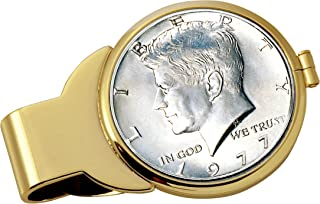 product image for Coin Money Clip - JFK Half Dollar | Brass Moneyclip Layered in Pure 24k Gold | Holds Currency, Credit Cards, Cash | Genuine U.S. Coin | Includes a Certificate of Authenticity