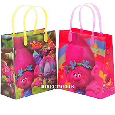 "Trolls Dreamworks 12 Premium Quality Party Favor Reusable Medium Plastic Gift Goodie Bags 8"": Toys & Games"