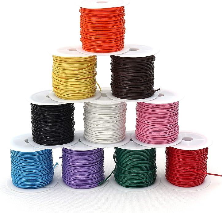friendship bracelet waxed cord 100m each 4 spools waxed polyester macrame cord 0.8 mm. knotting cord set flat braid macrame thread