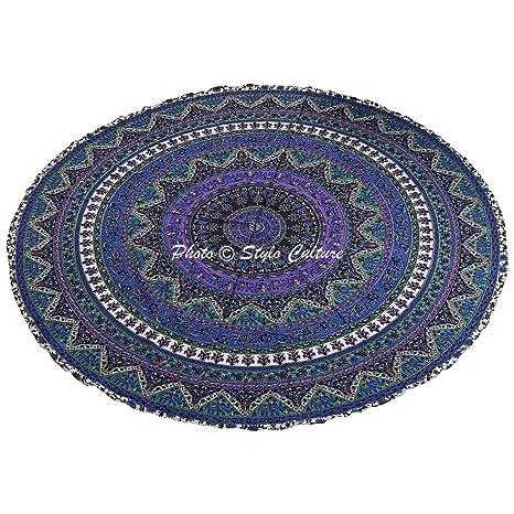 Amazon.com: Stylo Culture Bohemian Round Tapestry Blue ...