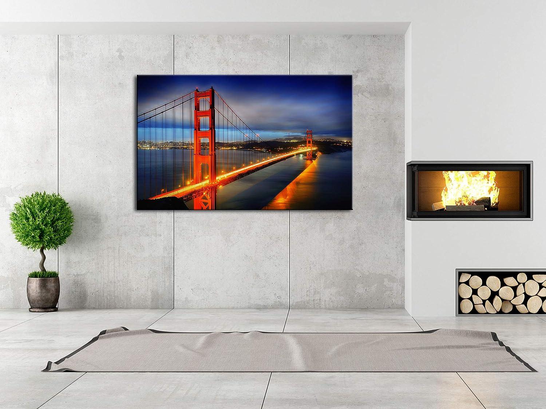 D/éco Maison Impression Photo Ville sur Toile d/écoration Murale Paysage DECLINA Tableau Image sur Pont de San Francisco Multicouleur 50x30 cm Salon Cuisine Chambre Adulte