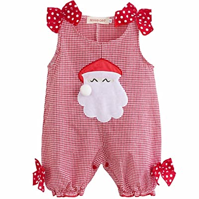 FEESHOW Baby Girls Christmas Santa Claus Outfits Romper Jumpsuit Red 12-18 Months