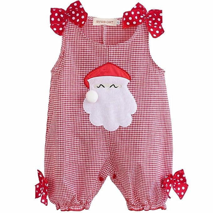 FEESHOW Pelele Navidad Bebé Mameluco de Escoceses Papá Noel Disfraz ...