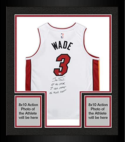 34255bcb359 Framed Dwyane Wade Miami Heat Autographed Nike White Swingman Jersey with  Multiple Inscriptions - Limited Edition