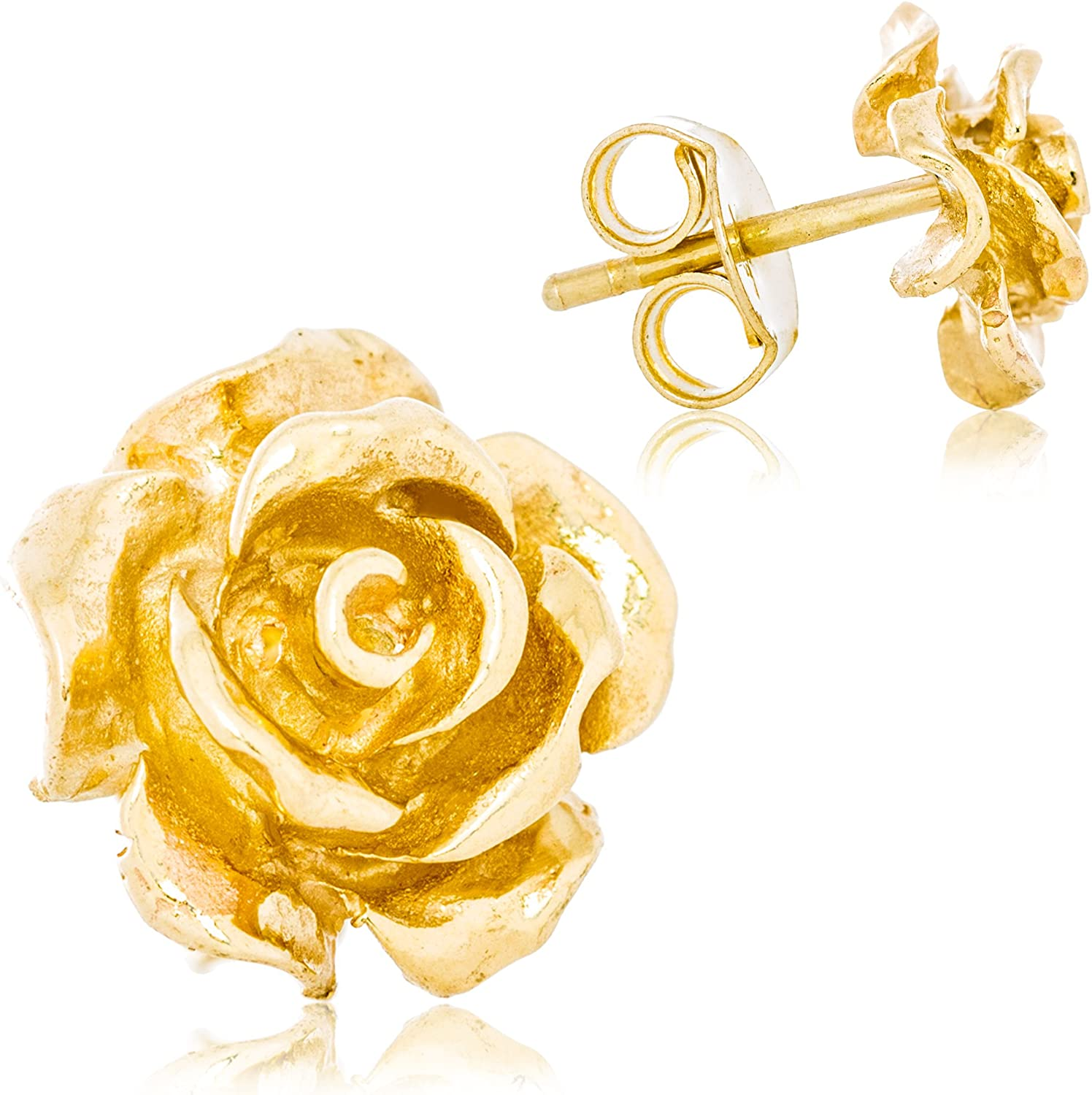 Solid 14K Yellow Gold Rose Flower Stud Earrings Handcrafted style 3/8 inch with Post and Friction Back | 2.5g