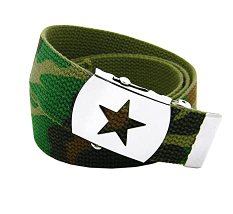 Boys School Uniform Silver Slider Military Belt Buckle with Canvas Web Belt