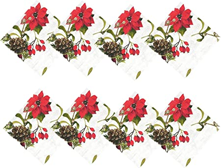 Christmas Holiday Red Poinsettia Holly Berries Gold Ribbon 17 x 17 Napkin NEW