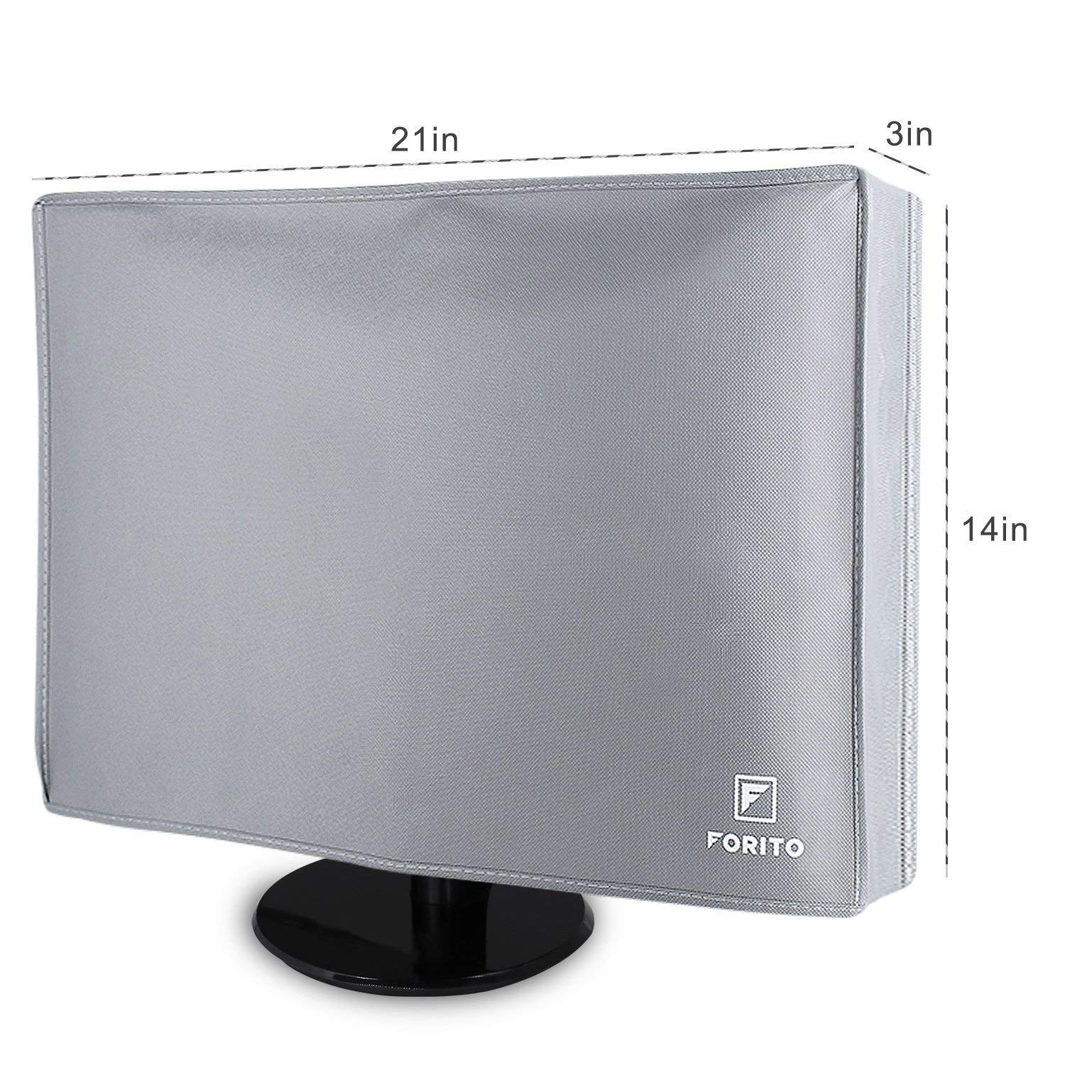 "19"" 20"" 21.5"" 22"" Universal Computer Monitor Dust Cover for 19 Inch to 22 Inch LCD/LED HD Screen Panel (Size: 21W x 14H x 3D), Nonwoven Fabric Dust-Proof, Water Resistant -Gray"