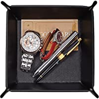 (Black) - Men Valet Tray,Jewellery Key PU Leather Valet Tray Box,OARIE Fully PU Leather Storage Tray(Black)