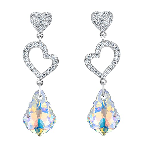 905d60d90710 EVER FAITH 925 Sterling Silver CZ Open Heart Baroque Dangle Earrings  Iridescent Aurora Borealis Adorned with