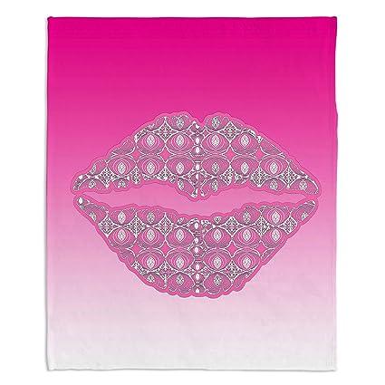 Amazon.com: DiaNoche Designs BLK-SusieKLipsHotPink3 Fleece ...