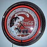 Neon Orologio Refreshing Coca Cola Neon Illuminazione Rosso–garage officina Orologio da parete