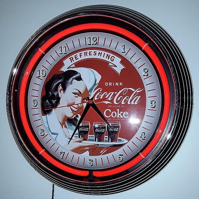 Reloj de pared coca cola rojo neón