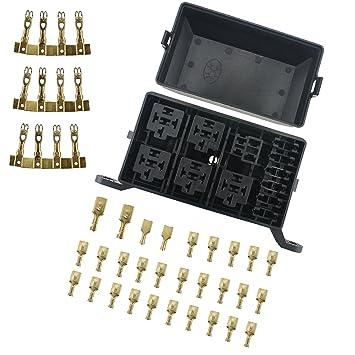 81OMUu4fvKL._SY355_ amazon com iztoss 12 slot relay box 6 relays 6 blade fuses fuse marine relay and fuse box at bakdesigns.co