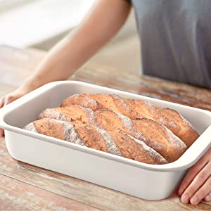 Rectangulor Enamel Roasting Pan with Cooling Rack White PP cover , Deep Roasting Pan Food Containers - White with gray grim