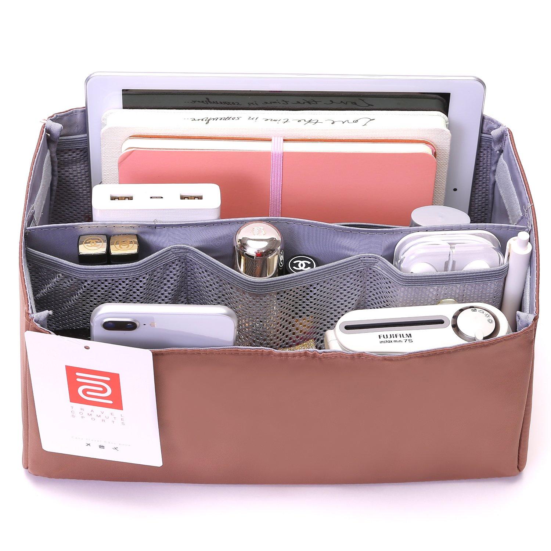 IN Purse Organizer,Handbag Organizer Insert for Speedy 25,30,35 Purse Liner Foldable (Medium, brown)