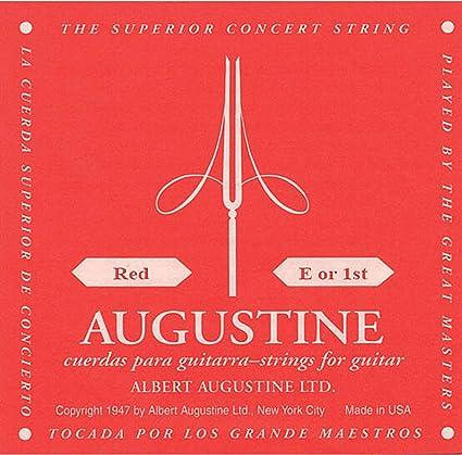 Augustine Cuerdas para Guitarra Clásica, Rojo, Mi1, Tensión ...