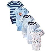 Gerber Baby Boys' 5-Pack Short-Sleeve Onesies, Transportation, 0-3 Months