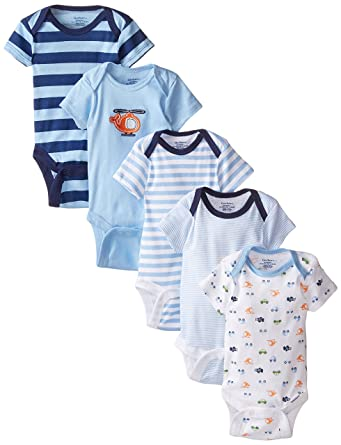 Gerber Baby-Boys Variety Onesies Brand Bodysuits, Transportation, 0-3 Months (Pack of 5)