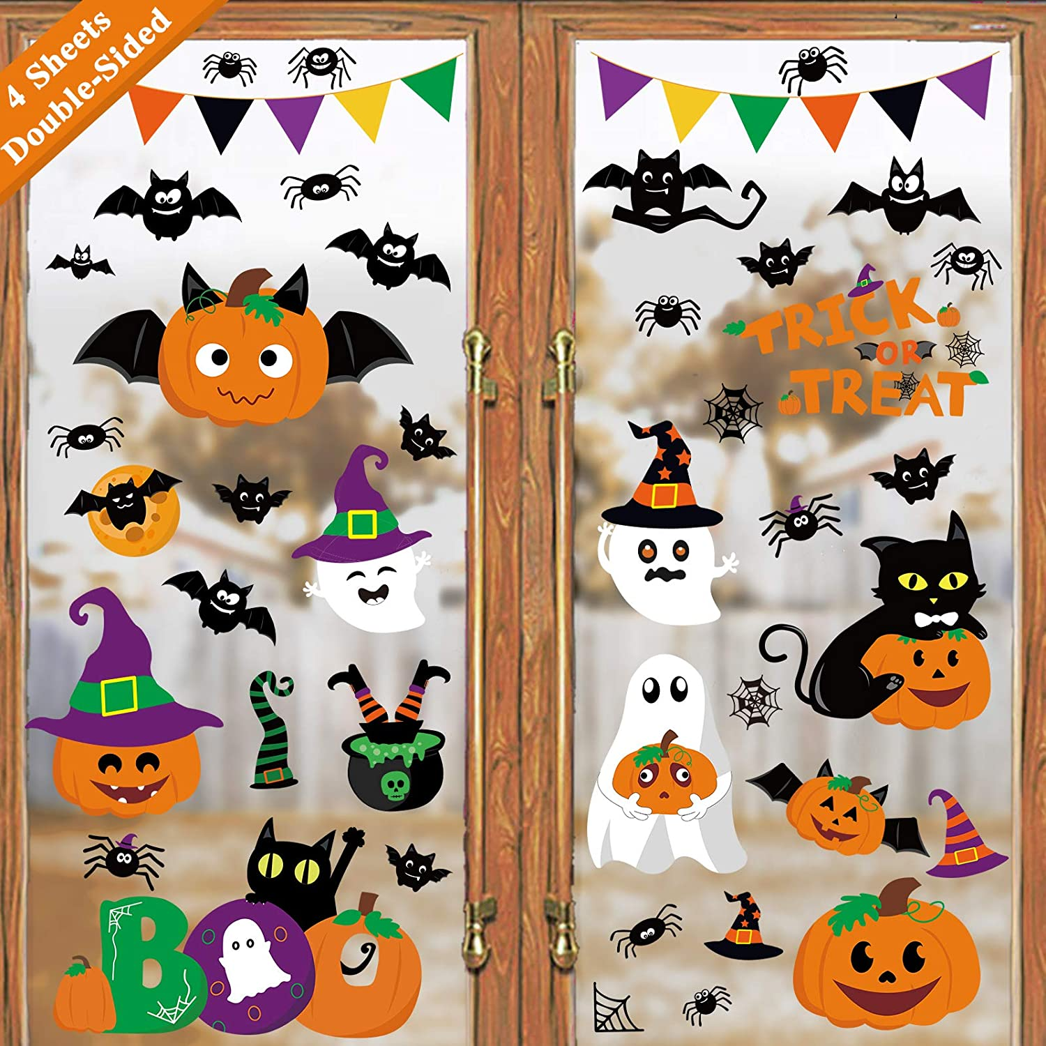 Ivenf Halloween Decorations Window Clings Decor, Cute Pumpkin Ghost Trick or Treat Kids School Home Office Accessories Party Supplies Gifts, 4 Sheet 44pcs