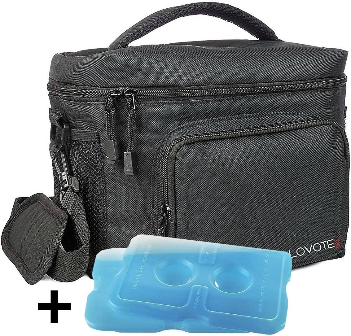 2X Large Insulated Lunch Bag Cooler Tote With 2 Reusable Cooler Ice Packs Easy Pull Zippers, Detachable Shoulder Strap, Roomy Compartments For Lunch Box, Bottles, Containers, Travel, Camping & More